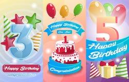 Grupo do cartão das crianças do feliz aniversario Foto de Stock Royalty Free