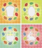 Grupo do cartão de papel com ovos da páscoa, coelho, bolo ilustração stock