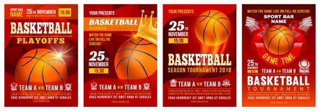Grupo do cartaz do basquetebol ilustração stock