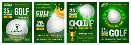 Grupo do cartaz do golfe ilustração stock