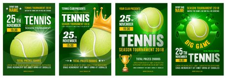 Grupo do cartaz do tênis ilustração do vetor