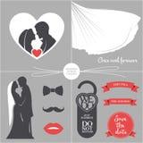 Grupo do casamento do vintage ilustração royalty free