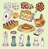 Grupo do casino dos ícones do jogo, ilustração da garatuja ilustração stock