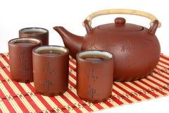 Grupo do chá no vermelho fotos de stock royalty free