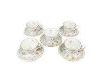 Grupo do chinês de copos de chá no fundo branco Fotos de Stock Royalty Free
