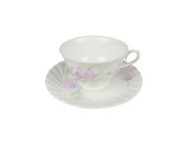Grupo do chinês de copos de chá no fundo branco Fotografia de Stock