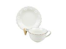 Grupo do chinês de copos de chá no fundo branco Imagens de Stock Royalty Free
