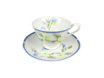 Grupo do chinês de copos de chá no fundo branco Foto de Stock