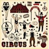 Grupo do circo do vintage ilustração royalty free