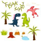 Grupo do clipart da árvore do dinossauro e da selva ilustração stock