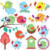 Grupo do clipart dos pássaros de Cutie Imagens de Stock Royalty Free