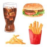 Grupo do clipart do Fastfood, cola, Hamburger, batatas fritas, watercolo tirado mão ilustração stock