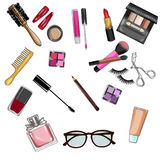 Grupo do clipart Make up e de cosméticos Imagens de Stock