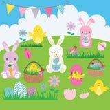 Grupo do coelhinho da Páscoa Cesta, flor, coelho, estamenha, ovo da páscoa, pintainhos da Páscoa Fotos de Stock