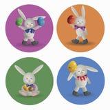 Grupo do coelhinho da Páscoa do logotipo Imagem de Stock