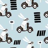 Grupo do coelho quatro bonito no 'trotinette' Cópia animal criativa com o coelho para o berçário, fato, tela, matéria têxtil, car ilustração royalty free