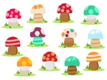 Grupo do cogumelo Ícones dos cogumelos do molde do projeto do vetor ilustração do vetor