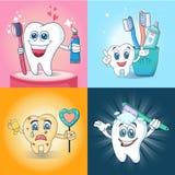 Grupo do conceito da bandeira do divertimento da escova de dentes, estilo dos desenhos animados Fotografia de Stock