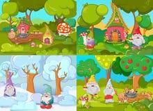 Grupo do conceito da bandeira do jardim do gnomo, estilo dos desenhos animados Imagem de Stock