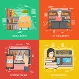 Grupo do conceito da biblioteca ilustração royalty free