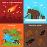 Grupo do conceito dos dinossauros Imagens de Stock Royalty Free
