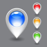 Grupo do ícone branco do ponteiro do mapa Foto de Stock Royalty Free