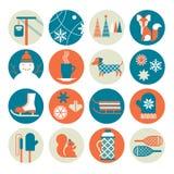Grupo do ícone da atividade do inverno Foto de Stock Royalty Free
