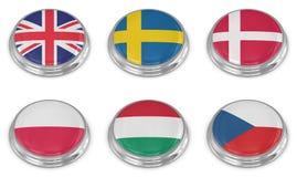 Grupo do ícone da bandeira da nação Imagens de Stock Royalty Free