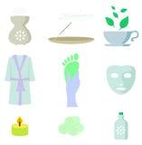 Grupo do ícone da cor dos termas Imagem de Stock