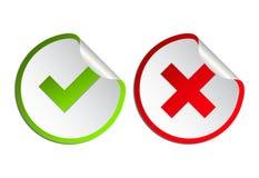 Grupo do ?cone da marca de verifica??o Tiquetaque de Gree e simbol liso transversal vermelho Verifique aprovado, SIM ou não, X ma ilustração do vetor