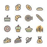 Grupo do ícone da padaria, linha lisa versão da cor, vetor eps10 Imagem de Stock Royalty Free