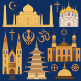 Grupo do ícone da religião Foto de Stock
