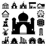 Grupo do ícone das construções Fotos de Stock Royalty Free