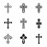 Grupo do ícone das cruzes do vetor Fotografia de Stock