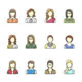 Grupo do ícone de caráter diferente da mulher na linha estilo Fêmea, menina, avatars da mulher de negócio Jogo 2 Foto de Stock Royalty Free