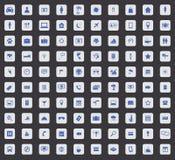 Grupo do ícone de 100 cursos, quadrado Imagens de Stock Royalty Free