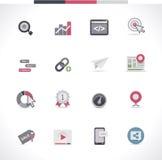 Grupo do ícone de SEO. Parte 1 Imagens de Stock