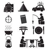 Grupo do ícone do acampamento e da atividade exterior Fotografia de Stock Royalty Free