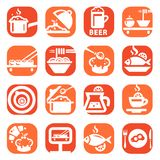 Grupo do ícone do alimento da cor Fotos de Stock