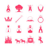 Grupo do ícone do conto de fadas da princesa Imagens de Stock Royalty Free