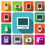 Grupo do ícone do dispositivo eletrónico dos multimédios de Digitas Foto de Stock Royalty Free