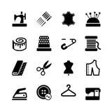 Grupo do ícone do equipamento e do bordado da costura do vetor Imagens de Stock