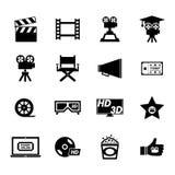 Grupo do ícone do filme Fotografia de Stock