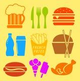 Grupo do ícone do ingrediente de fast food Imagens de Stock Royalty Free