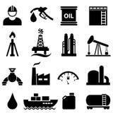 Grupo do ícone do óleo e da gasolina Fotografia de Stock Royalty Free