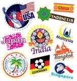 Grupo do ícone do marco do curso do país do mundo Foto de Stock Royalty Free