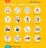 Grupo do ícone do negócio Cuidados médicos, medicina, diagnósticos Desig liso Imagens de Stock Royalty Free