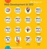Grupo do ícone do negócio Desenvolvimento do software e da Web, SEO, mercado Imagem de Stock Royalty Free