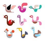 Grupo do ícone do pássaro Fotos de Stock Royalty Free