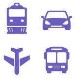 Grupo do ícone do transporte com trem, plano, carro e ônibus Fotografia de Stock Royalty Free